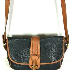 Dooney & Bourke Vtg Blue Leather Brown Trim Bag